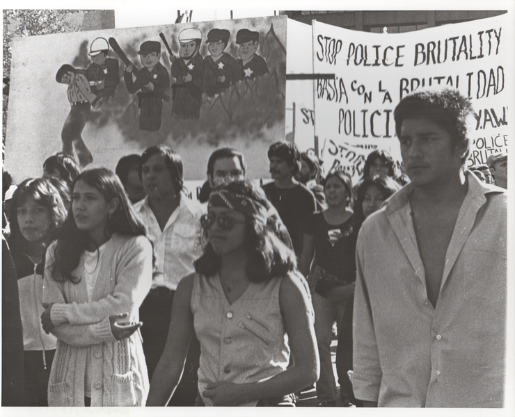 black and white photo of police brutality protest in texas
