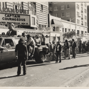 black and white photo of Brown Berets at police brutality protest
